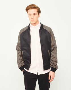 THE IDLE MAN Raglan Bomber Jacket Black mens