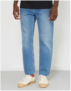 THE IDLE MAN Raw Hem Dad Jeans Stonewash Mens