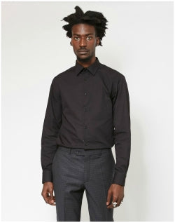 THE IDLE MAN Regular Smart Poplin Shirt Black Mens