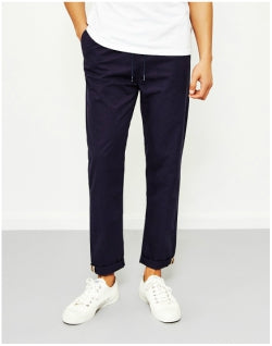 THE IDLE MAN Relaxed Cotton Trouser Navy Mens