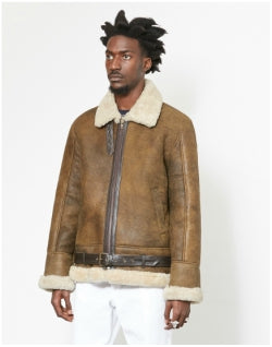 THE IDLE MAN Shearling Flight Jacket Vintage Brown Mens