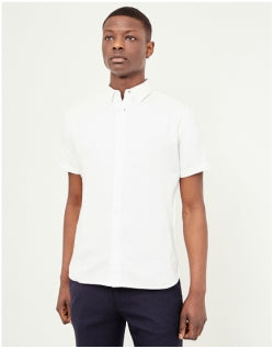 THE IDLE MAN Short Sleeve Oxford Shirt White Mens