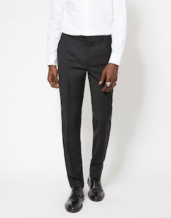 THE IDLE MAN Slim Fit Pure Wool Suit Trousers Black