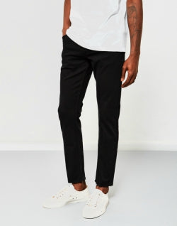 THE IDLE MAN Slim Fit Raw Hem Jeans Black mens