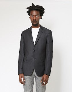 THE IDLE MAN Slim Textured Pure Wool Suit Jacket Black