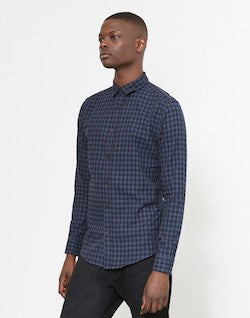 THE IDLE MAN Small Check Checked Shirt Blue
