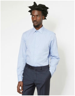 THE IDLE MAN Smart Regular Oxford Shirt Blue Mens