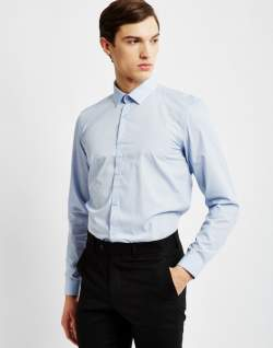 the idle man smart shirt in pale blue mens