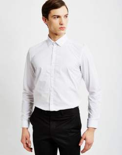 the idle man mens smart shirt in white