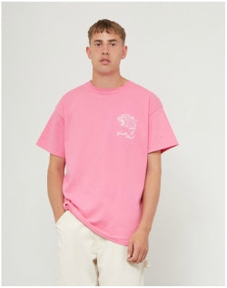 THE IDLE MAN South Island Skate T-Shirt Pink Mens