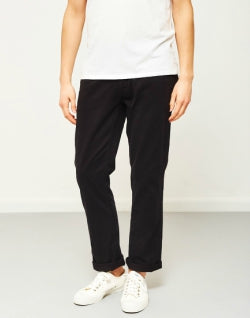 THE IDLE MAN Straight Leg Chino Black