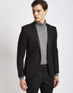 the idle man mens suit jacket for men in skinny fit black