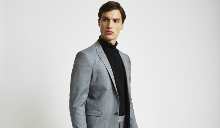 THE IDLE MAN Suit Jacket in Skinny Fit-Grey lifestyle