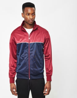 THE IDLE MAN Track Top Burgundy Navy mens