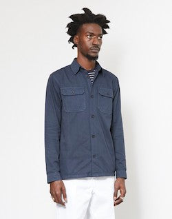 THE IDLE MAN Twin Pocket Overshirt Navy