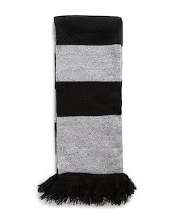 THE IDLE MAN Varsity Stripe Scarf Black & Grey