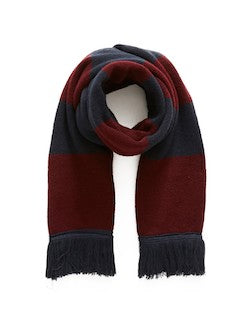 THE IDLE MAN Varsity Stripe Scarf Burgundy & Navy mens