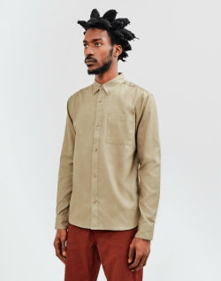 THE IDLE MAN Waffle Long Sleeve Shirt Green mens