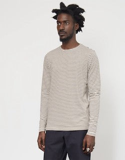THE IDLE MAN Yarn Dyed Stripe T-Shirt Brown
