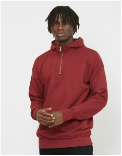 THE IDLE MAN Zip Neck Hoodie Burgundy Mens