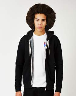the idle man zip through hoodie black mens
