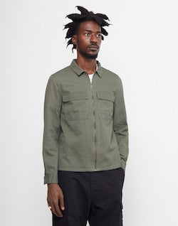 THE IDLE MAN Zip Through Overshirt Green mens