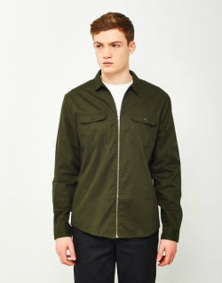 THE IDLE MAN Zip Utility Over Shirt Green