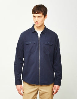 THE IDLE MAN Zip Utility Over Shirt Navy mens