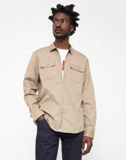 THE IDLE MAN Zip Utility Over Shirt Stone mens