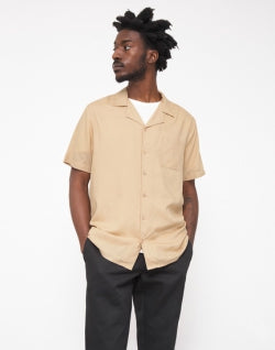 THE IDLE MAN mens Revere Collar Shirt Stone