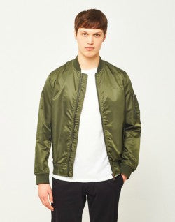 THE IDLE MAN Lightweight Nylon MA-1 Mens Bomber Jacket Green