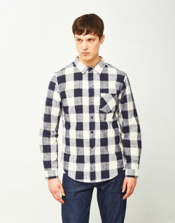 THE IDLE MANSlub Check Shirt White & Navy mens