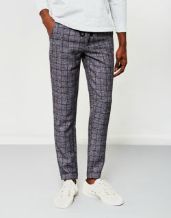 THE IDLE MAN Window Pane Check Trousers mens
