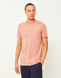 THE IDLE MAN Yarn Dyed Stripe T-Shirt Pink