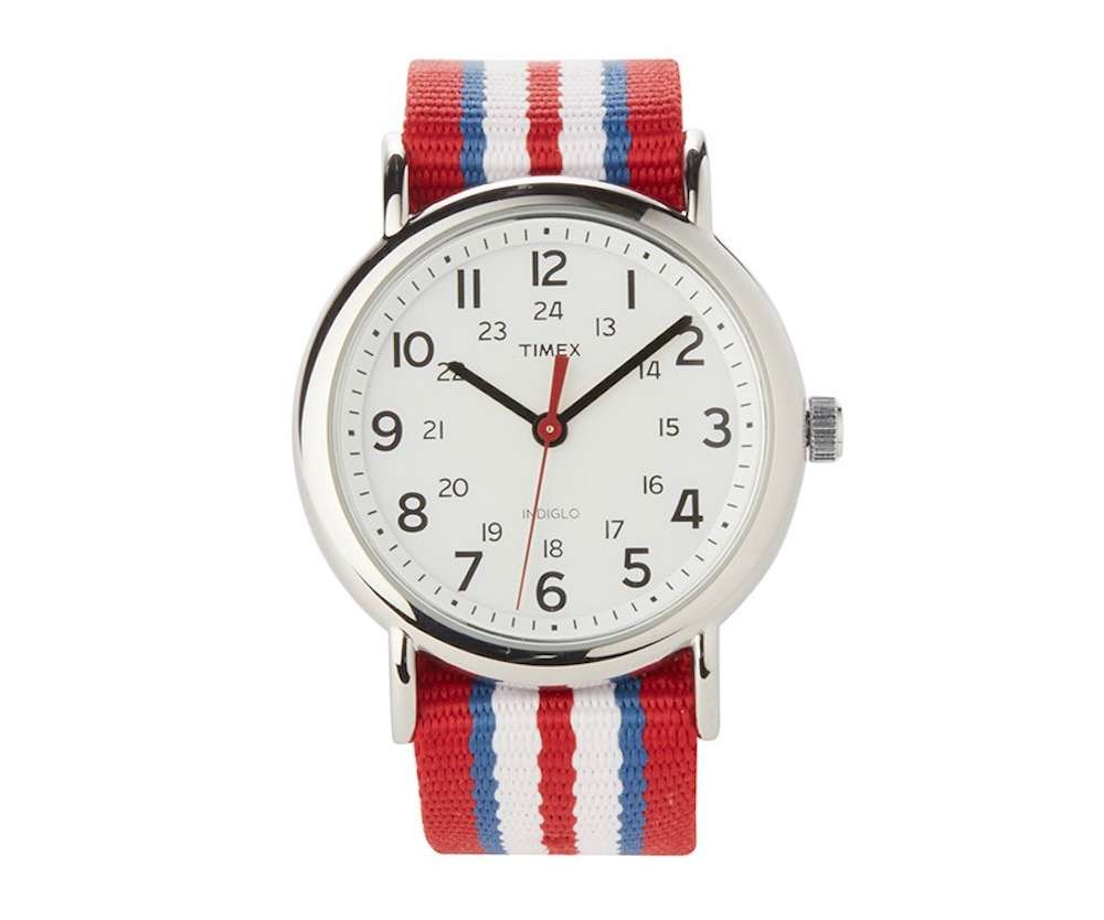 mens timex weekender slip through strap watch red