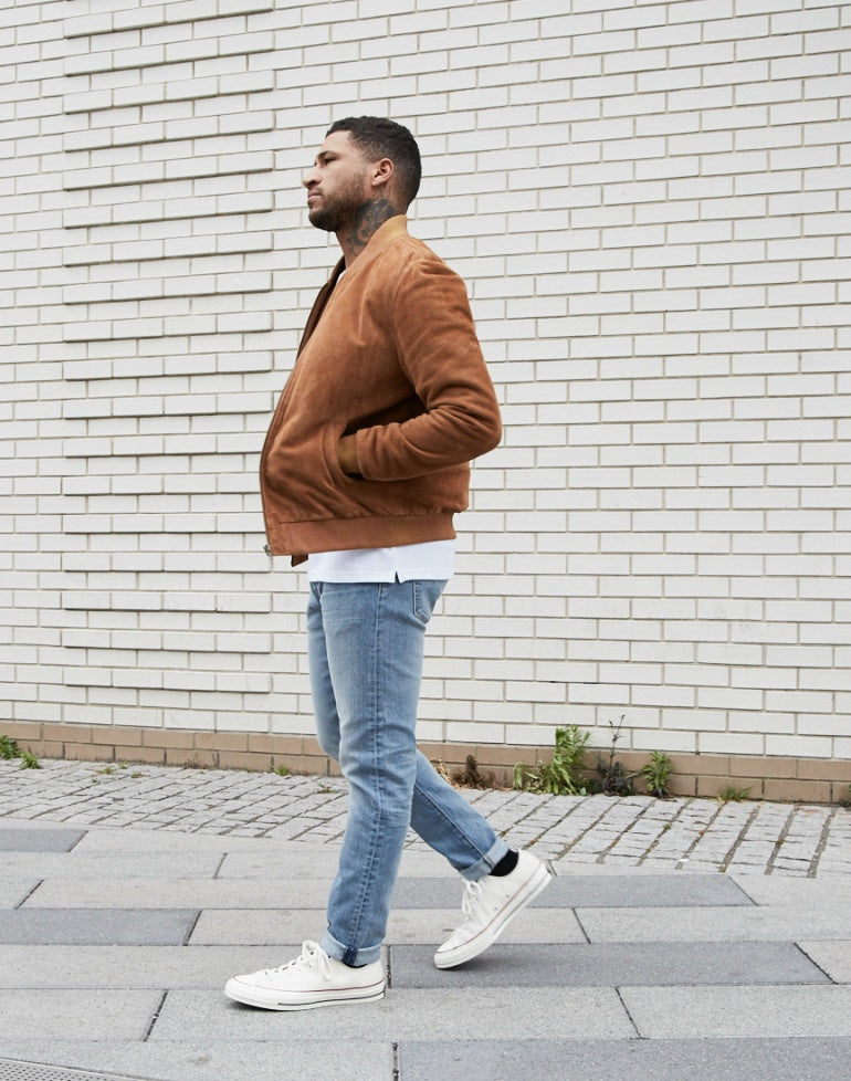 The Idle Man Blue Jeans Suede Bomber Converse