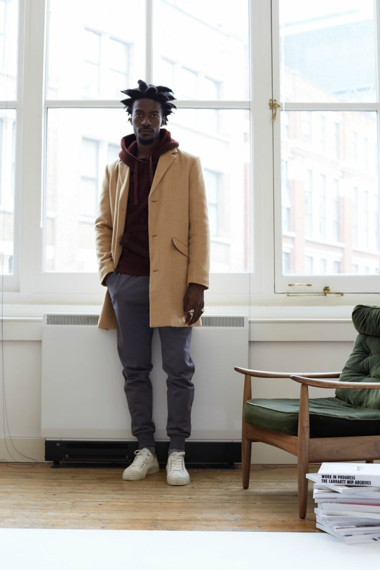 The Idle Man Camel overcoat AW17 lookbook