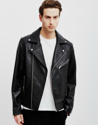 The Idle Man Leather Biker Black