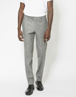 The-Idle-Man-Slim Fit Pure Wool Tweed Suit Trousers Grey
