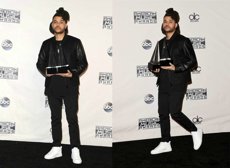 The Weeknd Black Jeans Jacket Mens Style White Trainers