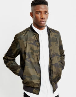 THE IDLE MAN Mens Camo Bomber Jacket