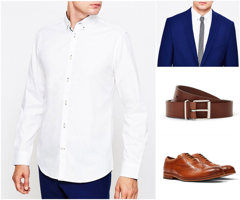 Top Dress Shirts Men Fashion Style White Suit Blue Trousers Brogues Belt Shopping Grid