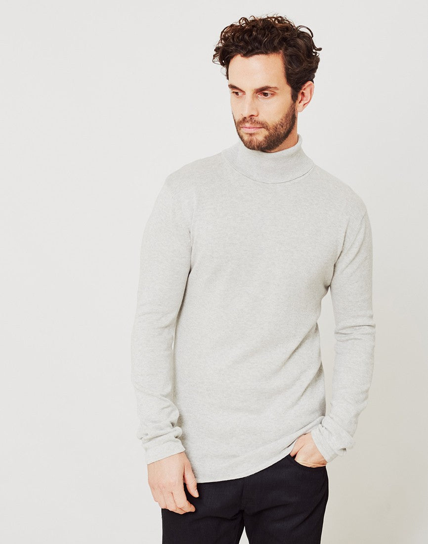 vito matt knit roll neck light grey men