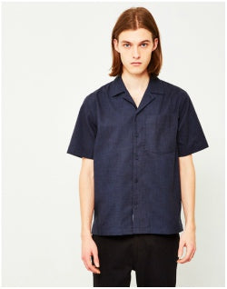 WOOD WOOD Brandon Revere Collar Shirt Navy Mens