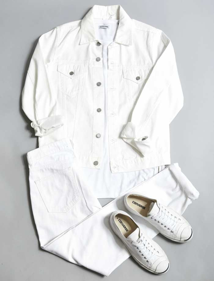 White Out out fit denim jacket