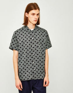 YMC Malick Dots Revere Collar Shirt Black mens