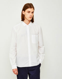 YMC Mens Curtis Seersucker Shirt Mambo White