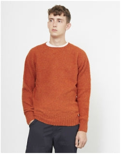 YMC Suedehead Brushed Crew Orange Mens