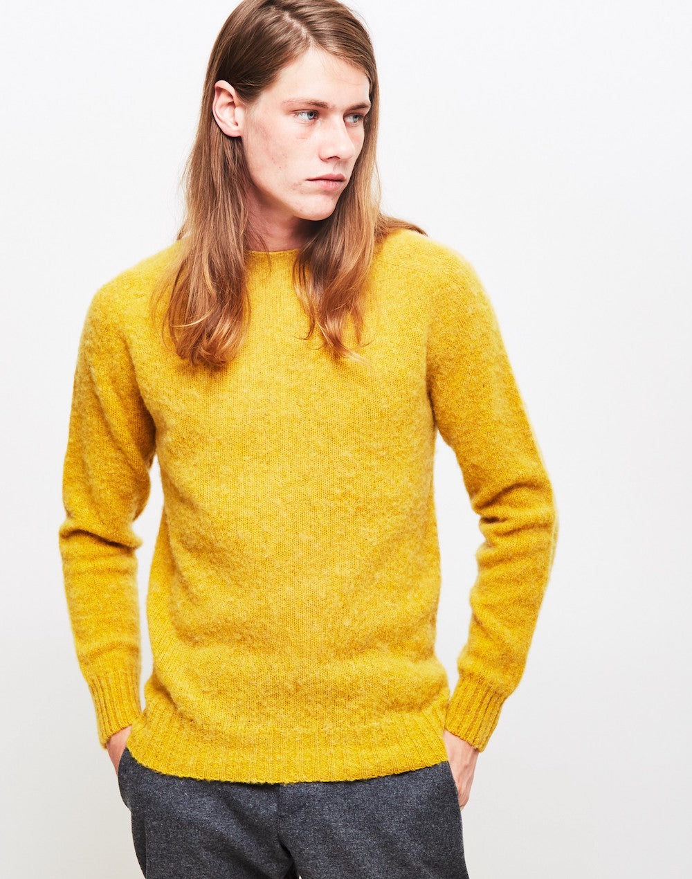 YMC suedehead brushed knit jumper yellow men