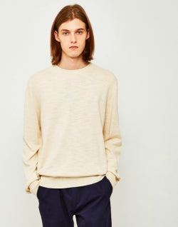 YMC Bel-Airs Mens Crew Neck Jumper Off White